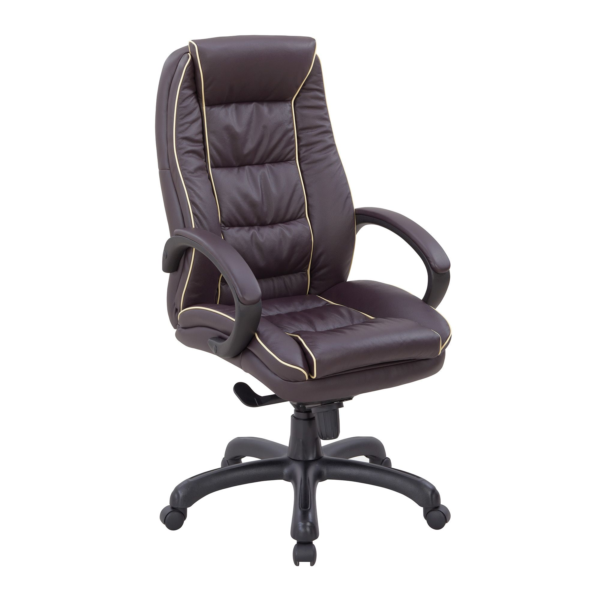 truro leather faced office chair  high back with integral